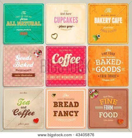Set of retro bakery label cards for vintage design, old paper textures and seamless patterns