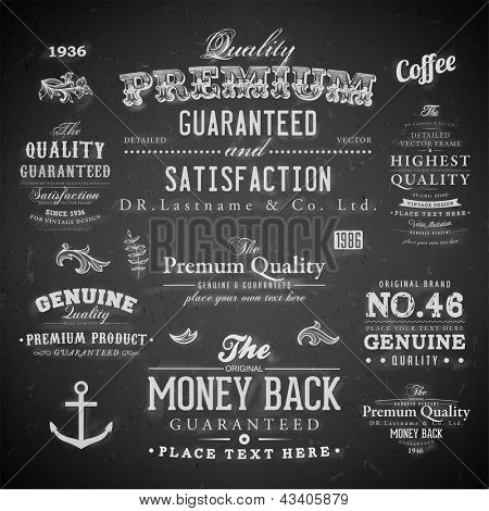 Retro elements for calligraphic designs | Vintage ornaments | Premium Quality, Guaranteed, Satisfaction, Money Back and Genuine labels | eps10 vector set | Chalk typography design on blackboard