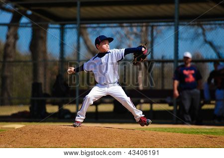 Youth Baseball Pitcher In Wind Up