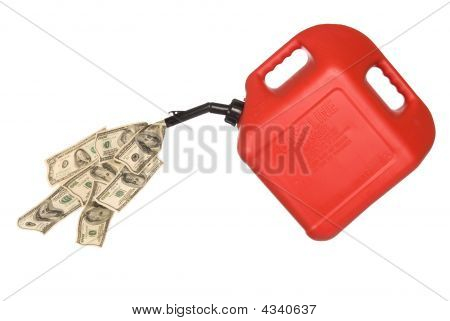 Gas Can And Cash Pouring