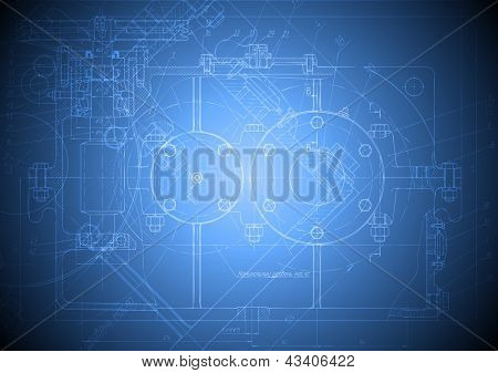 The engineering drawing of a reducer on blue background
