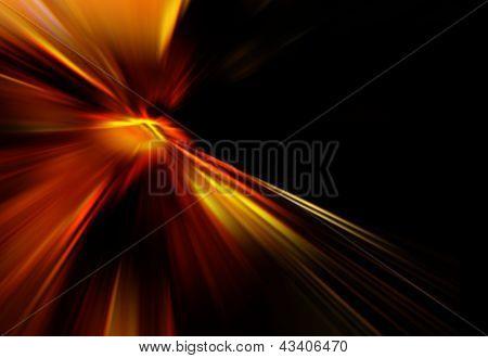 Red starburst against black background