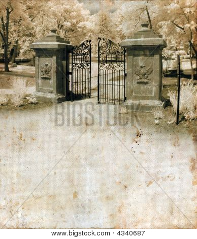Ornate Gate On Grunge Background