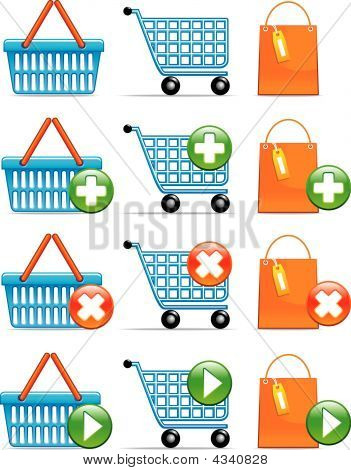 Shopping Basket,cart And Bag Icons