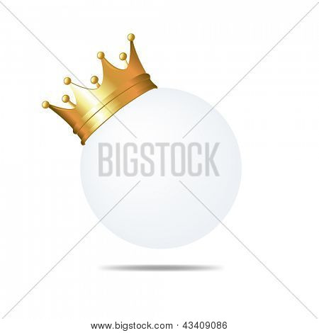 Golden Crown On Blank Card Isolated On White Background