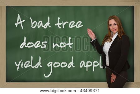 Teacher Showing A Bad Tree Does Not Yield Good Apples On Blackboard