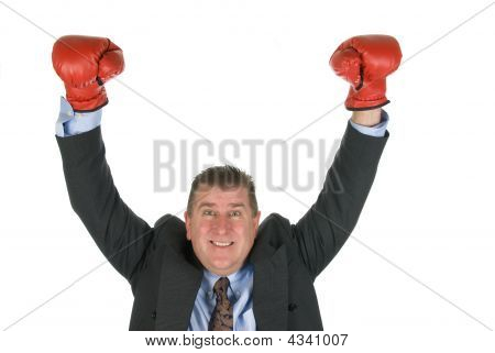 Businessman Boxing Victory