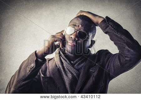 black businessman calling