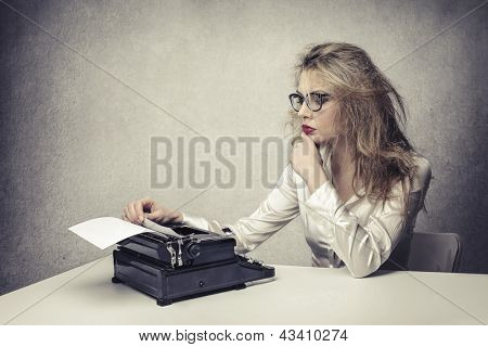 blonde writer reads text