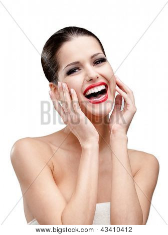 Portarait of a woman with red lipstick, isolated on white