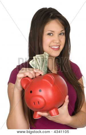 A Woman And Her Piggy Bank