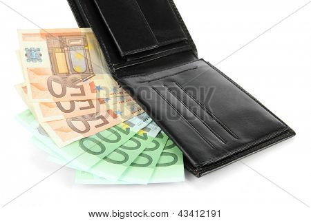 Euro im Portemonnaie, isolated on white