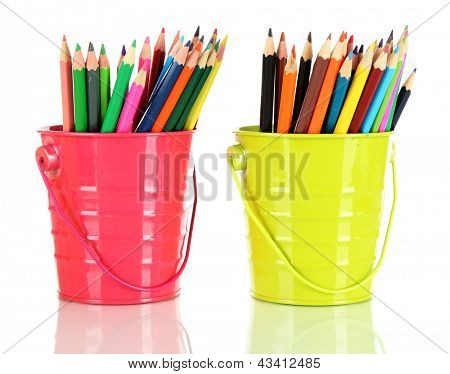Colorful pencils in two pails isolated on white