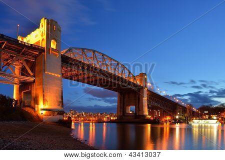 Vancouver's Historic Burrard Bridge At Night