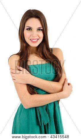 Menina bonita no vestido verde, isolado no branco