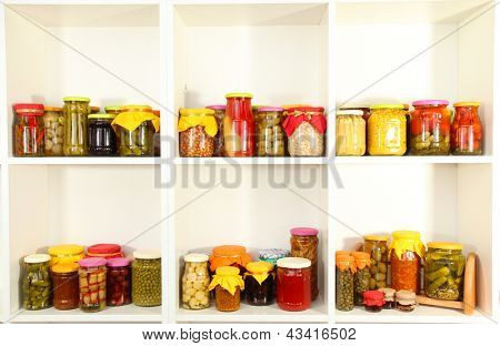 Different conservations on white shelves