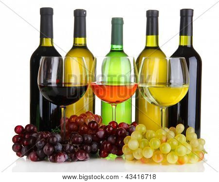 Assortment of wine in glasses and bottles isolated on white
