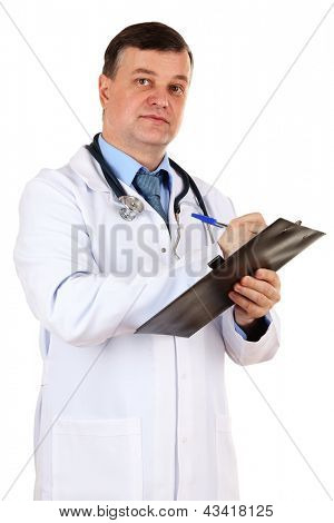 Medical doctor with stethoscope and clipboard isolated on white