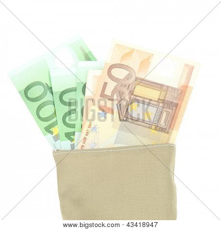 Bag of money with different euro banknotes isolated on white