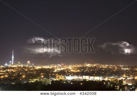 Lightening Over Auckland City