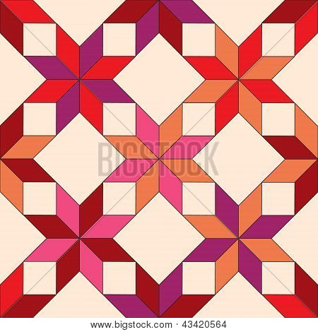 Quilted star shape fabric seamless pattern in shades of red, vector