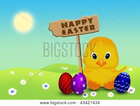 Cute Easter Chick with Sign