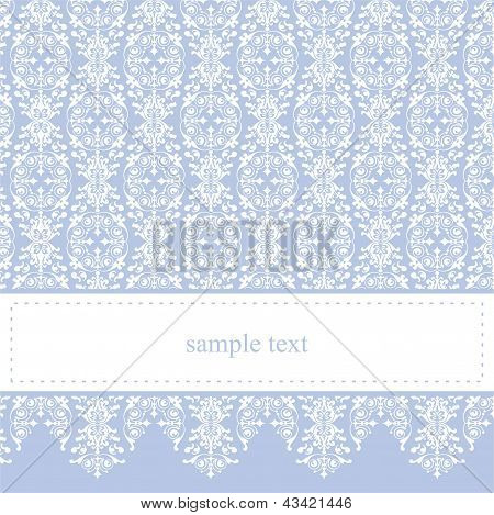 Vector cartão ou convite - clássico e elegante com fundo azul doce e ornamento branco laço