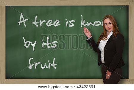 Teacher Showing A Tree Is Known By Its Fruit On Blackboard