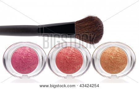 Makeup rouge and Brush on a white background