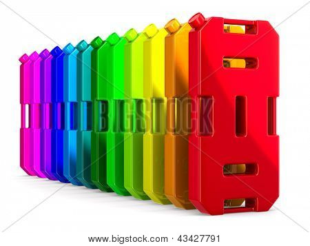 row colorful gasoline canisters on white background. Isolated 3D image