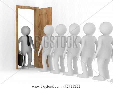 People standing one after another before the open door