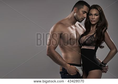 Portrait of a sexy couple in lingerie