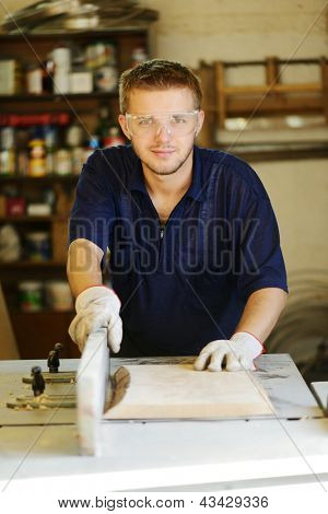 Craft worker working in workshop