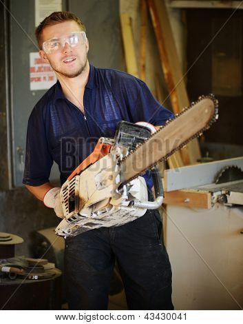 Craft worker working in workshop