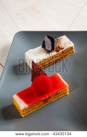 Sponge Cakes Assortment With Strawberry And Vanilla