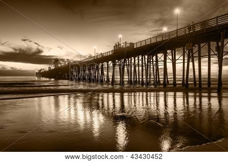 Oceanside Pier at sunset - Oceanside is 40 miles North of San Diego, California. Image in sepia tones