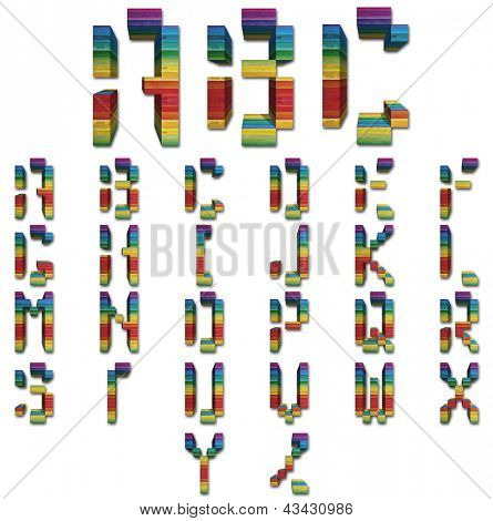 Concept or conceptual 3D colorful vintage abstract font set or collection of wood blocks isolated on white background