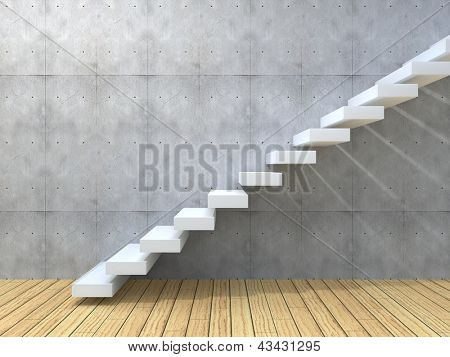 Concept or conceptual white stone or concrete stair or steps near a wall background with wood floor