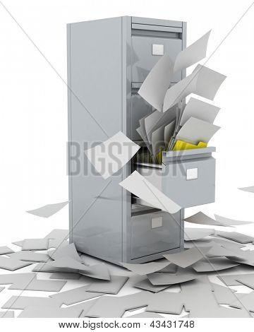3D Render of a Filing Cabinet