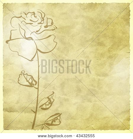art sketching flowers on sepia background for family holidays