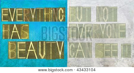 "Earthy background image and design element depicting the words ""everything has beauty, but not everyone can see it"""