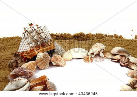 Sand Frame With The Shells And Boat