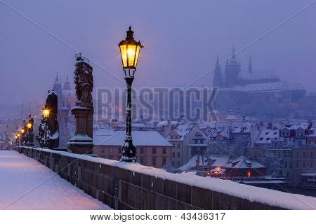 view on Charles bridge and Prague castle before dawn, Czech Republic