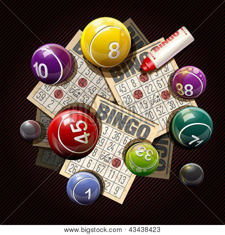 Retro bingo or lottery balls and cards