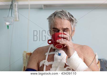 Patient Drinking Tea