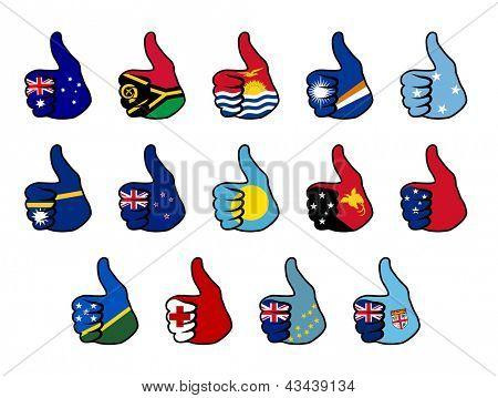 como símbolo com bandeira de países da oceania