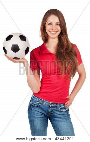 Girl In Jeans With Soccer Ball