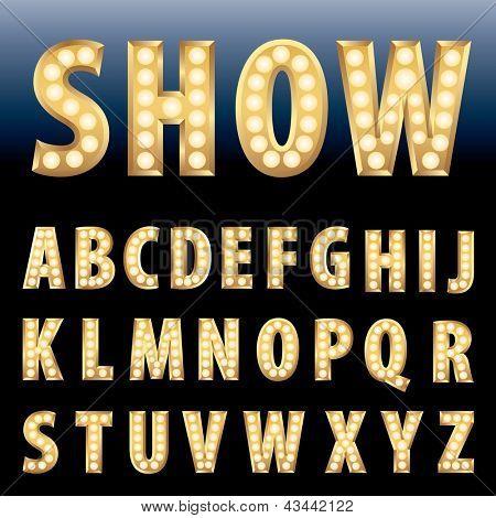 alfabeto de oro del vector con lámpara lámparas