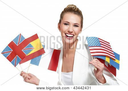 Beautiful Woman Showing International Flags