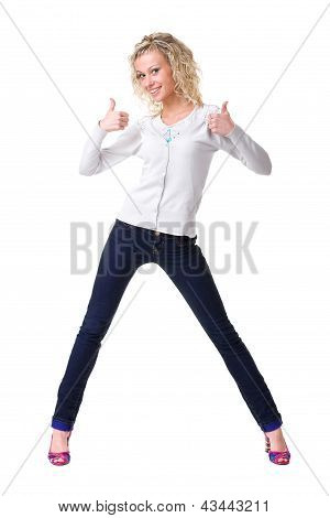 Young happy woman showing thumbsup